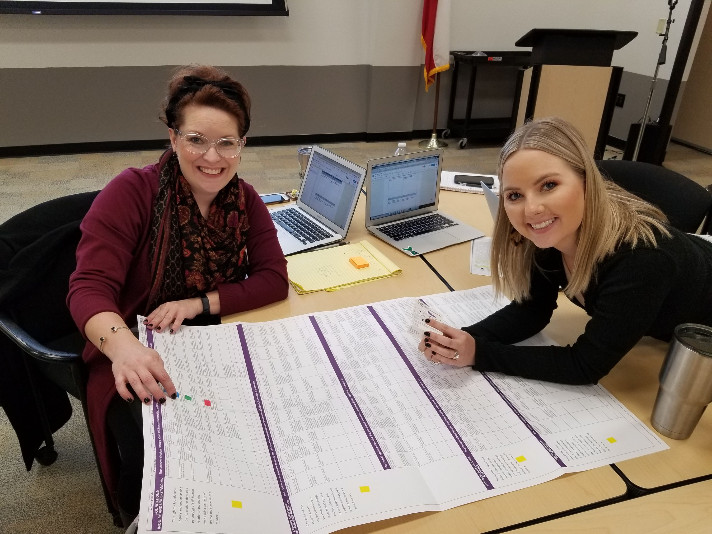 Picture of two teachers sitting at a table looking at a chart that features the Texas Essential Knowledge and Skills.