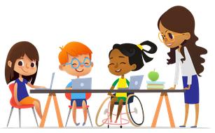 Cartoon kids sitting at desk with teacher