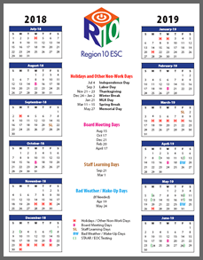 r10 sample calendar 2018 2019