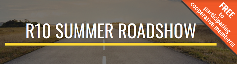 R10 Summer Roadshow text over a country road background
