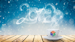Coffee cup showing steam forming '2019' year against blue background