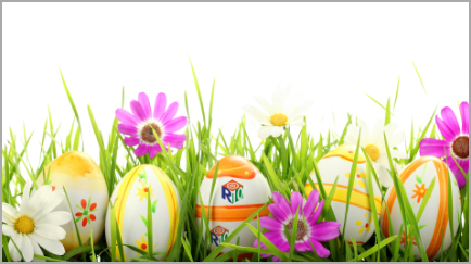 Spring Flowers with Easter eggs with R10 logo