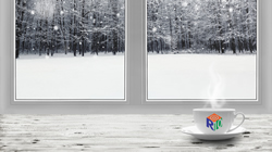 Snowy winter window scenes with R10 logo coffee cup