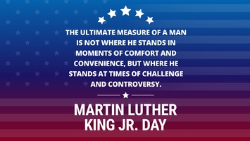 Region 10 will be closed on Monday, Jan. 21, to celebrate Martin Luther King Jr. Day
