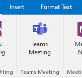 Teams Meeting button in Outlook
