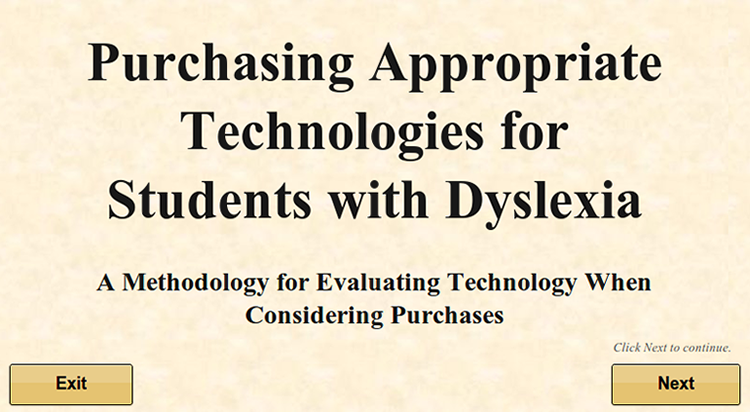 Purchasing Appropriate Technologies for Students with Dyslexia
